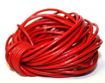 5 Metres - 2mm Vibrant Cherry Red Leather Cord, Wrap Bracelet Cord String