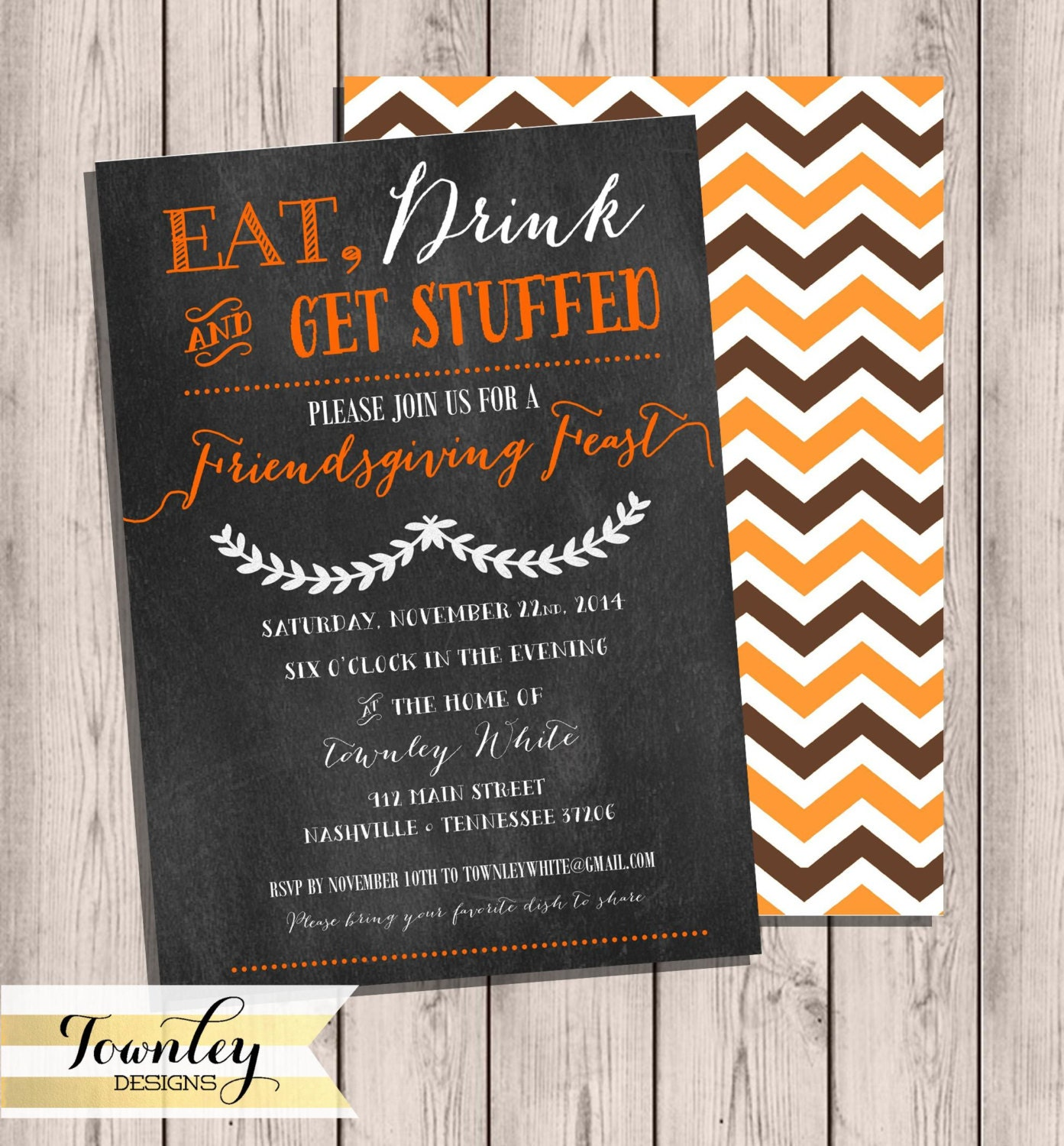Friendsgiving Invitation Eat Drink & Be Stuffed Chalkboard