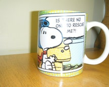 "Vintage CHARLES SCHULZ PEANUTS mug "" Is there no one to rescue me"""