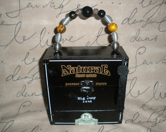 Cigar Box Purse, Big Jucy, Drew Estate Naturals, Brown, Wooden, Trifold Opening- So Cute! #636