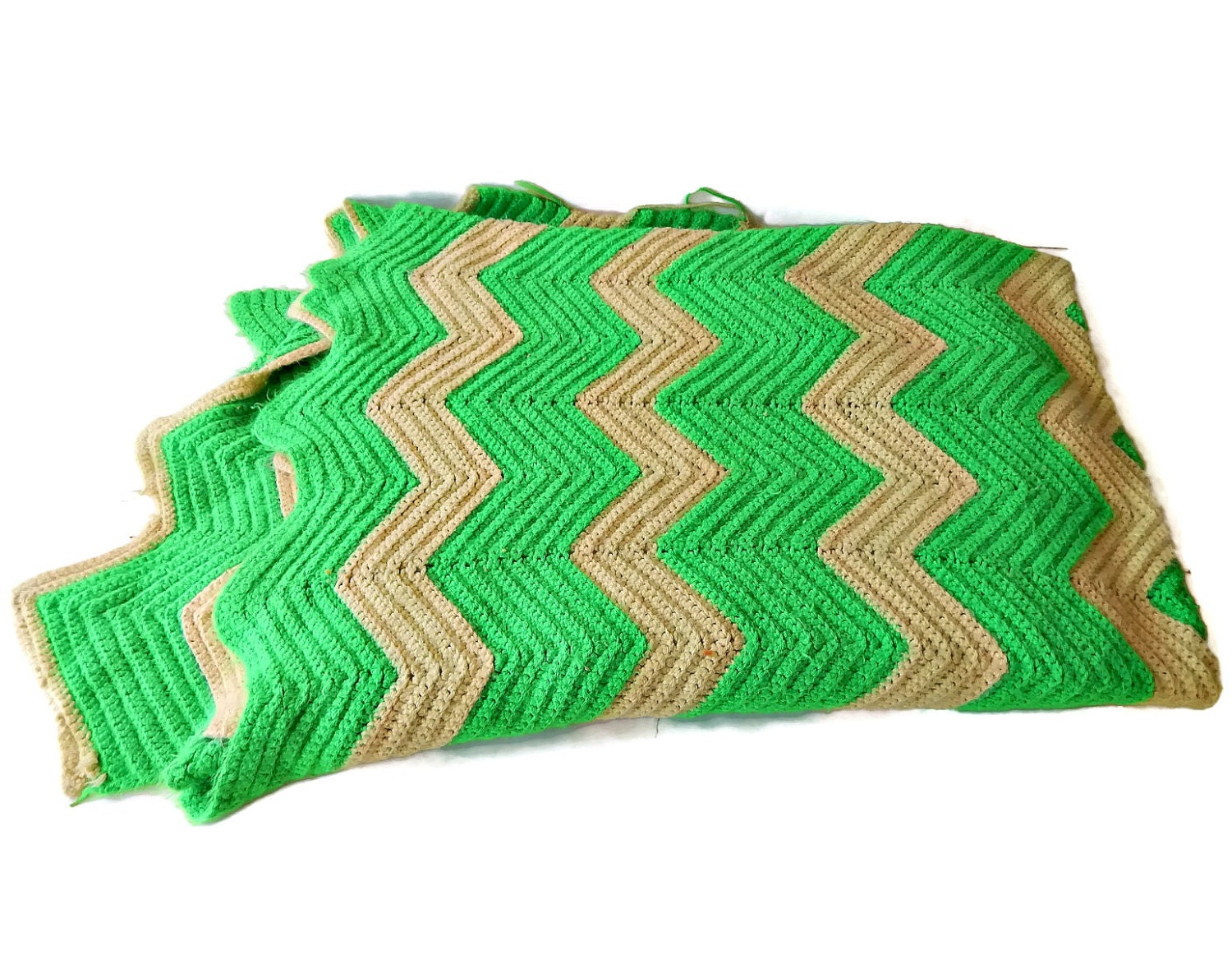 Green Crochet Afghan Pattern : Hand Crocheted Afghan Chevron Pattern Green Yellow