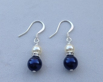 Susan - Bridal Earrings, White and Blue Pearl Bridal Earrings, Bridesmaid Earrings, Swarovski Pearl Earrings