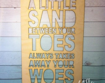 "SALE!!! 20"" Sand Between your toes takes away your woes / DIY / unpainted / sanded"