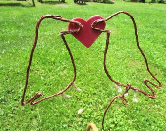 Love Birds Rustic Wire Wedding Cake Topper