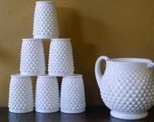 Fenton milk glass hobnail squat jug pitcher and 6 tumbler set