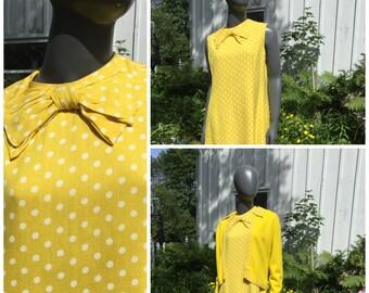 Vintage 50s polka dot dress, 2 piece matching set, 1950s yellow shift dress with sweater