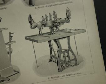 """De antieke print schoenen van schoen productie - 1909 foto's van schoenmaker apparatuur voor het maken van schoenen - shoenmaker produzione di calzature - 6 x 9"""""""
