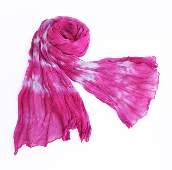 "Crinkle scarf - silk chiffon scarf - spring scarf - large scarf - hot pink, fuchsia, magenta, lavender - hand dyed - large - 17"" x 74"""