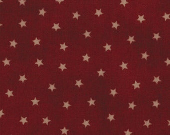 OLD GLORY Gatherings Dark Red Star Patriotic Primitive Gatherings Moda Fabric