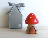 Teeny Tiny Wooden Fairy House - Red Natural stem Toadstool / Mushroom - Personalized available