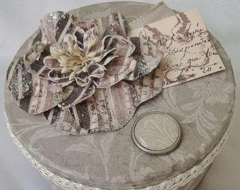 Round gift box, Decorative box, Wedding box, Jewelry box, Keepsake box, Altered box, Memory box, Victorian botanical, Soft ecru shades