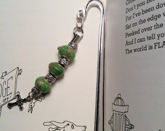 Glass bead bookmark with cross pendant