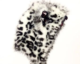 Snow leopard half stash spirithood fur hood animal hood hoody fur hat stashpocket
