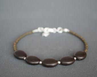 Friendship bracelet Glass bracelet Brown bracelet Beaded Silver bracelet Dainty Bronze tone Thin Skinny bracelet Spring Simple bracelet