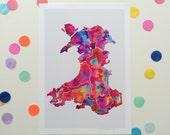 MAP OF WALES / Signed print by Niki Pilkington / Cymru