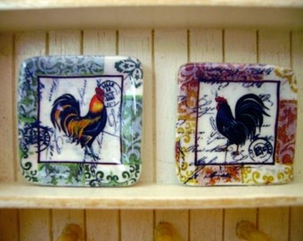 2 Country Rooster miniature plates for dollhouse 1:12 scale