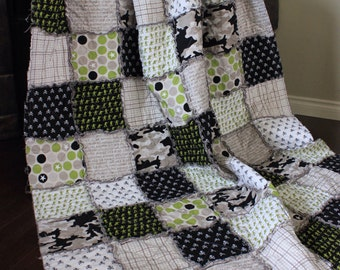 Twin Size Rag Quilt, Riley Blake Military Collection, Camo Quilt, Boy Rag Quilt, Twin Quilt, Army, Ready To Ship