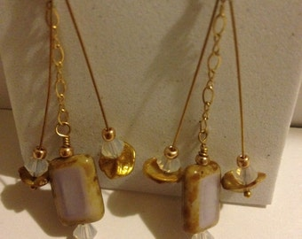 lavender dangling earrings with gold findings and pearls