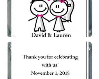 90 Stick Couple Personalized Wedding Candy Labels