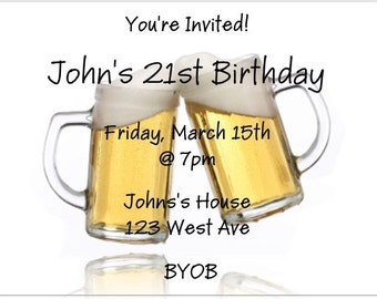 20 21st Birthday Party Invitation Envelopes Included