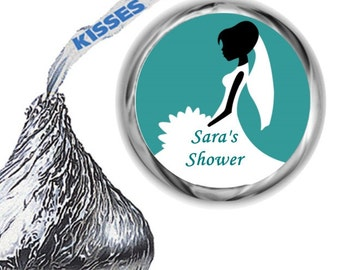 108 Teal Bridal Shower Hershey Kiss Labels