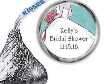 108 Blue Bridal Shower Hershey Kiss Sticker
