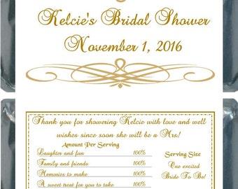 50 Gold Bridal Shower Hershey Bar Wrapper Favors
