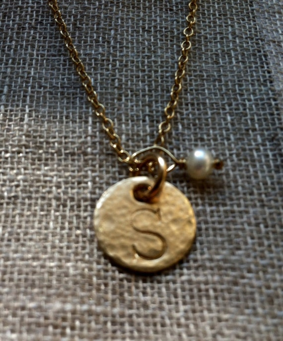 "Hand Hammered & Hand Stamped 14K Gold Filled Initial ""S"" Necklace"