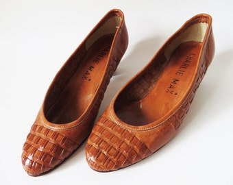 Vintage 70s Woven Leather Pumps Caramel Brown Genuine Leather Heels Braided Flats Women's Shoes 1970s Heeled EUR 36 / UK 3 / US 5