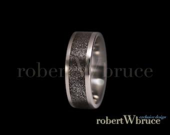 Meteorite & Titanium Ring Groom's Wedding Band - Exclusive rWb Custom Design