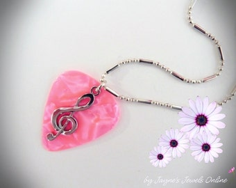 Pink Music Note Guitar Pick Necklace, Silver Treble Clef, Pink Pearl, Genuine guitar pick, Pearlised Guitar Pick