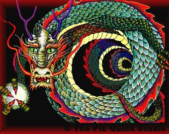 Curled Chinese Dragon,  Fridge Magnet 7cm by 4.5cm,