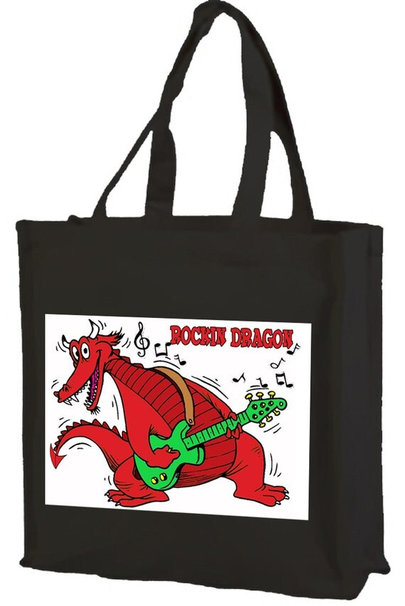 Rockin' Welsh Dragon Cotton Shopping Bag with gusset and long handles, 3 colour options