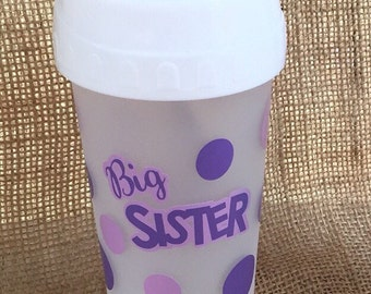 Big sister polka dot sippy cup personalized