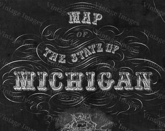 Old Michigan map, vintage 1856 map of Michigan, Old Antique Restoration Hardware Style wall Map, Lake Michigan map. Chalk Style map print
