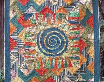Bright lap quilt, medallion style
