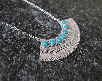 Eilat stone necklace,Filigree Necklace, Silver necklace,Yemenite jewelry, Israel jewelry,Eilat stone pendant,Ethnic pendant
