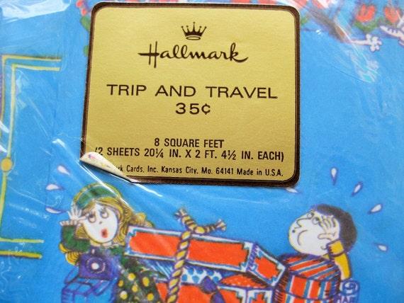 "Vintage Hallmark ""Trip and Travel"" gift wrap. One full sheet, one partial. Bon voyage. Honeymoon."