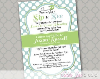 Sip and See boy baby shower birthday printable 5x7 4x6 or 4x5.5 party invitation