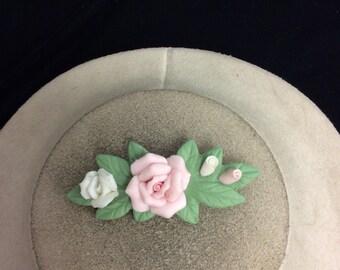 Vintage 3-D Ceramic Rose Pin