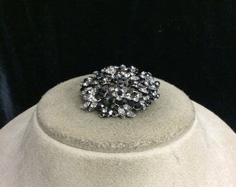 Vintage Black & Clear Rhinestone Pin