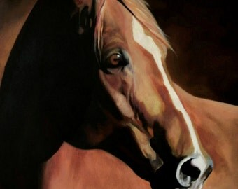 chestnut horse print from original oil painting, racehorse portrait, giclee horse print, equine giclee print thoroughbred quarter horse