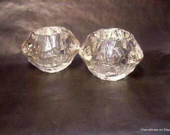 """Göte Augustsson , Ruda glass-works Sweden,  Large heavy votives """"Demant"""" series, Mid Century Modern."""