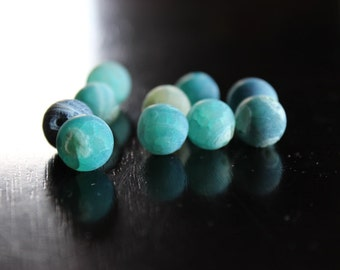 10 sea glass green and blue dragon vein natural agate beads, 12mm hole 1mm