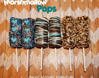 Gourmet Chocolate Covered Marshmallow Pops - in Blues