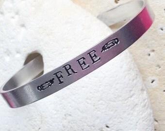 Free Mantra bracelet - adjustable -handstamped - vegan
