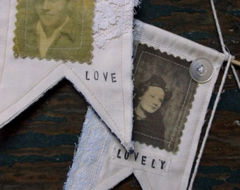 Set of 3 mini flags, pennants, wall decor, wall hanging, vintage photograph, OOAK, Sale, vintage style,