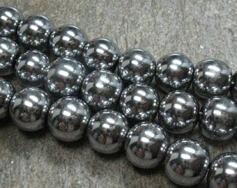 "Hematite Beads, Silver Color Plated - 10 mm - 15.5"" Strand - Item B0225"