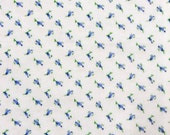 Mini Tulips Blue Flannel Cotton Fabric By The Full Yard 5530