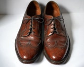 Vintage FLORSHEIM IMPERIAL Brown Longwing Blucher Derby 5 Nail V Cleat Full Brogued Wingtips Gunboats Size 11.5D